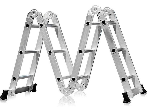 Escada Multifuncional 4x3 Em Aço E Alumínio 12 Degraus-fortg