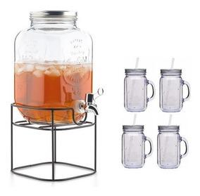 Dispensador De Vidrio Con Base Metalica + 4 Vasos Mason Jars
