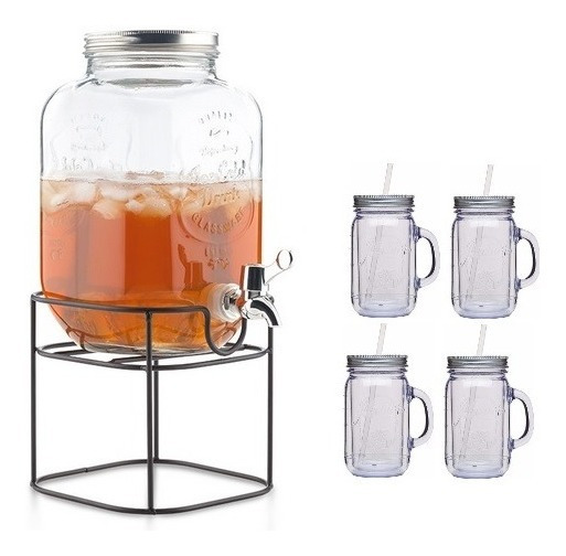 Dispensador De Vidrio Con Base Metalica + 4 Vasos Mason Jars