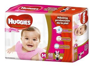 Huggies Natural Care Ellas M Mediano 68 Pañales X 4 Paquetes