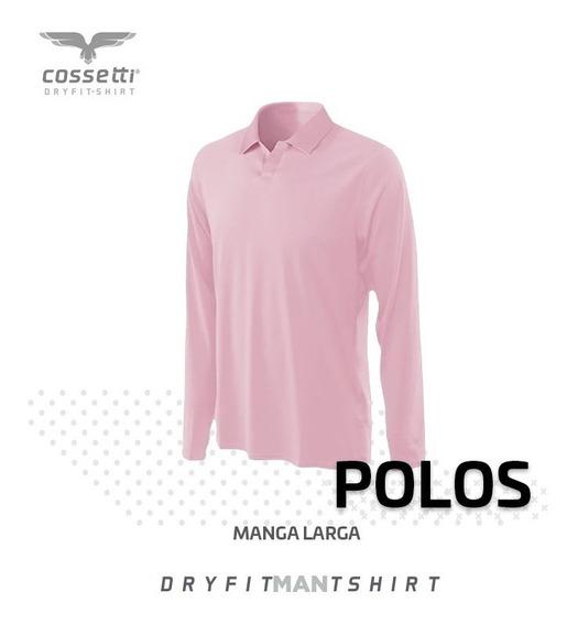 Playera Tipo Polo Cossetti Manga Larga Dry Fit Hombre