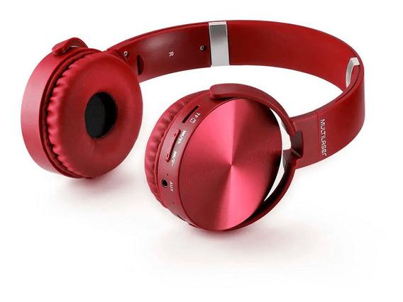 Headphone Premium Bluetooth Sd / Aux / Fm Vermelho Multilase