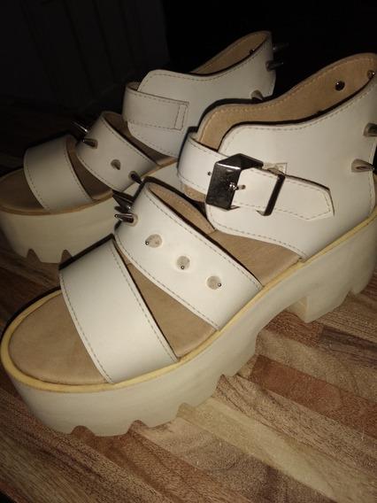 Zapatos Sandalias Plataforma Blancos Con Tachas Verano