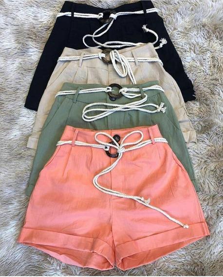 Short Curto Cintura Alta Com Cordão