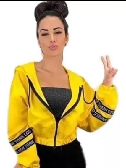 Jaqueta Corta Vento Capuz Blusa Cropped Feminina Neon