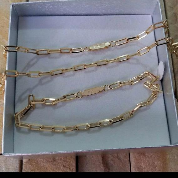5 Correntes + 5 Pulseiras Dourada 4 Mm 60 Cm