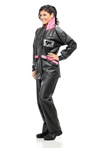 Conjunto De Lluvia Alba Mujer Europeo Negro+rosa Motocity