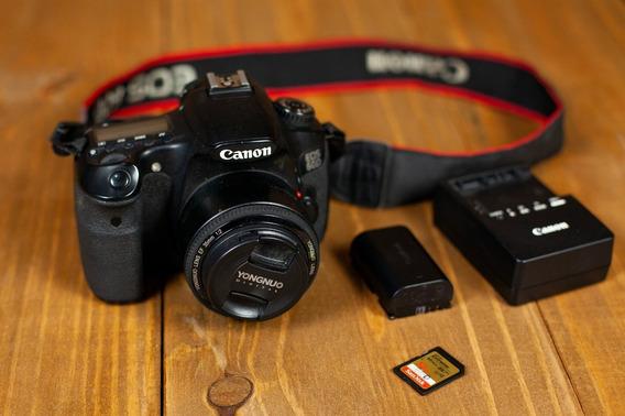 Câmera Dslr Canon Eos 60d Com Lente Yongnuo 35mm F/2.0