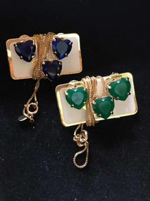 Conjunto De Semijoias Colar E Brinco De Coração Azul E Verde