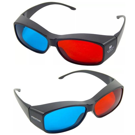 3x Óculos 3d Ultra Resistente Ótima Qualidade Red Cyan