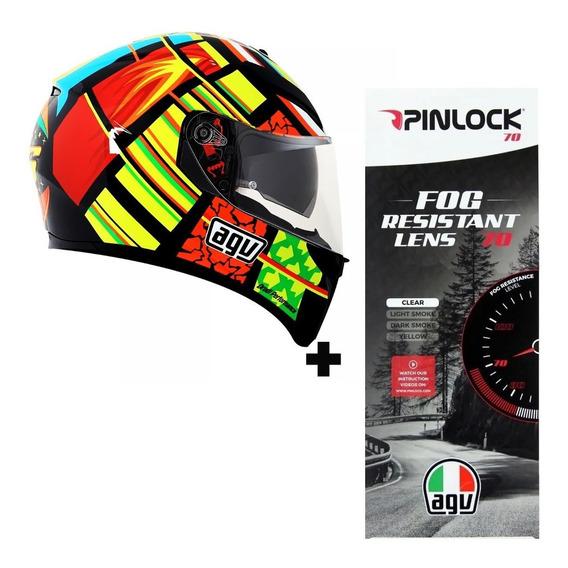 Capacete Agv K3 Sv Elements Valentino Rossi Vr46 + Pinlock