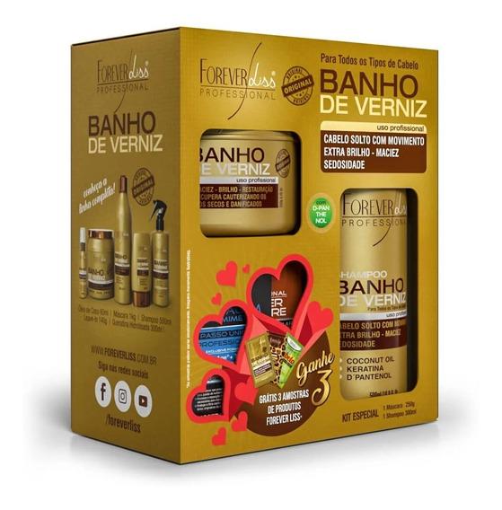 Kit Banho De Verniz Forever Liss +grátis 3 Amostras Sortidas