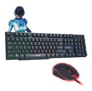 Teclado Gaming Led Gamer + Mouse Base Metalica 7 Botones