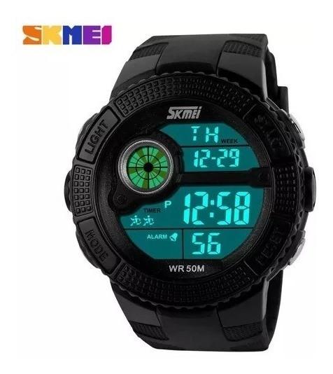 Relógio Skmei 055 Natação Preto Esporte Edc Led - Original