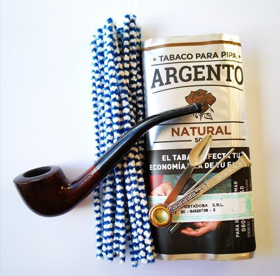 Kit Inicial Fumar En Pipa / Pipa De Brezo Curva Tabaco Trío