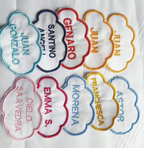 Nombres Bordados, Nubes Etiquetas Escolares - Pack X 4
