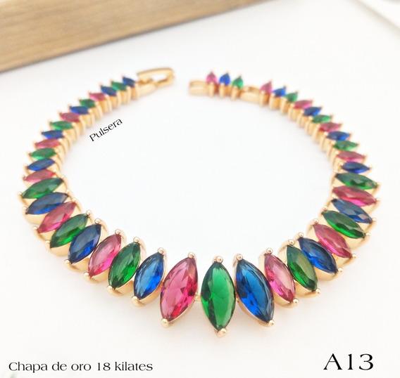 Hermosa Pulsera Rainbow Con Finas Piedras Diferentes Colores