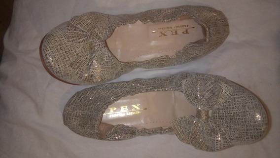 Zapatos Balerinas Chatas Ajustable Cuero Perugia Dorado