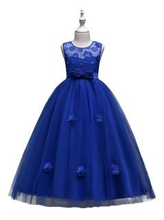 Vestido Niña Fiesta Paje Graduación Diseño Flores Azul Rey