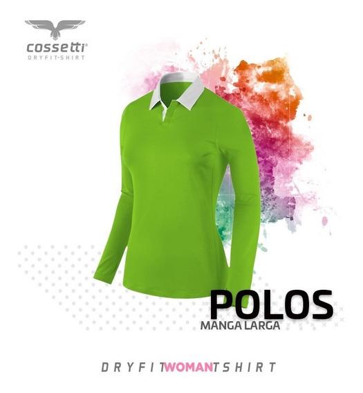 Playera Polo Cossetti Manga Larga Dryfit Tallas Xl Combina