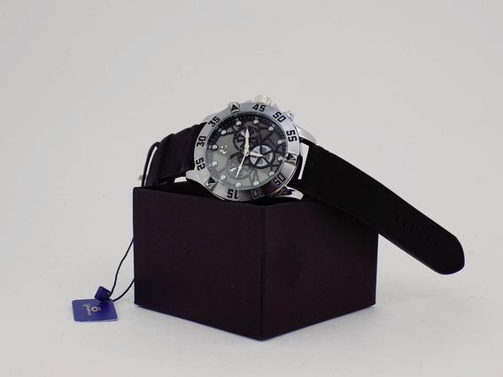 Relógio Masculino Original Prata Pulseira Couro Orizom