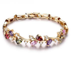 Pulseira,bracelete,zirconias Coloridas,dourado,c/caixa,top.