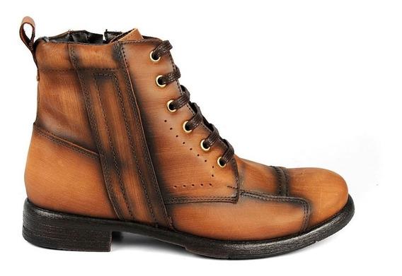 Bota Sapato Coturno Masculina Em Couro Legítimo Costurada