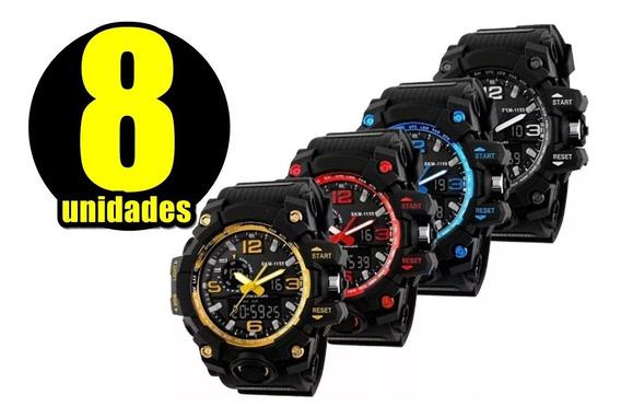 Kit Com 8 Relógios Masculinos Shock Revenda Atacado Relógio