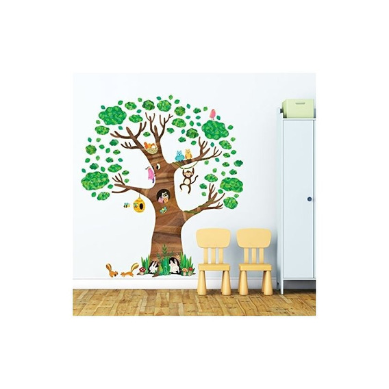 Decowall Dl-1709 Giant Tree And Animals Vinilos Decorativos