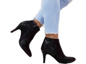 Zapatos Mujer Botineta Tipo Bota Taco Aguja Art 714