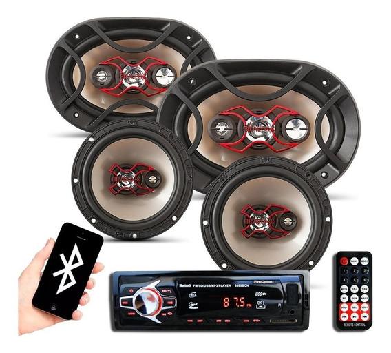 Kit Som Automotivo Player Bluetooth Falante Bravox 6 + 6x9