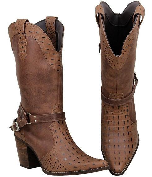 Bota Feminina Texana Com Salto Bico Fino Couro Crocodilo2622