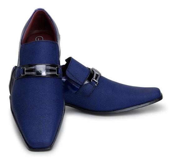 Sapato Social Masculino Verniz Bico Fino Italiano Azul 0556