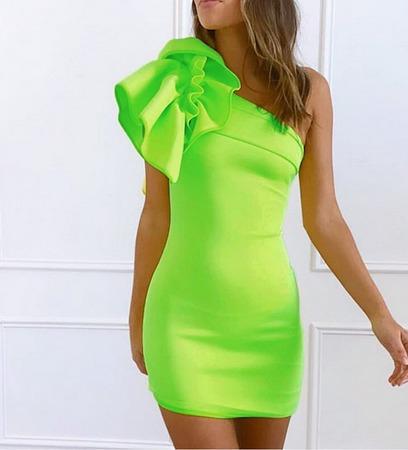 Vestido Mujer Corto Bandage Un Hombro Verde Amarillo