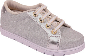 Tênis Infantil Feminino Glitter Prata
