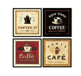 Café Paris Quadros Decorativos Coffee New York 4 Quadros