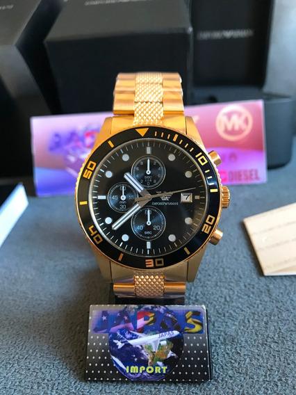 Relógio Empório Armani Ar5857 Dourado 100% Original Completo