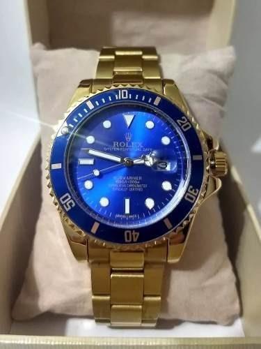 Relógio Masculino Submariner Azul Dourado