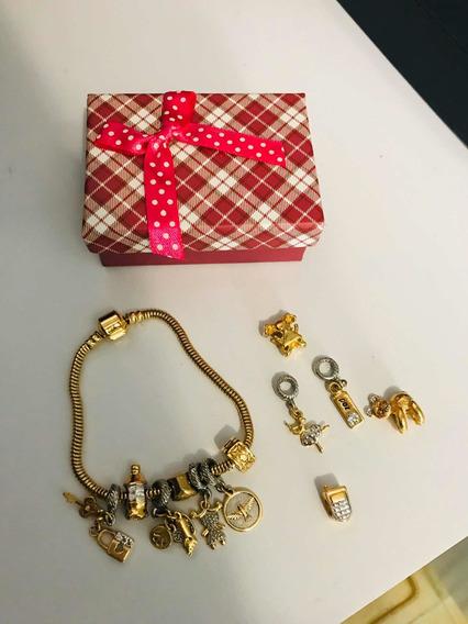 Pulseira De Berloque Completa Banho Ouro Estilo Pandora