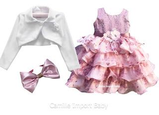 Vestido Infantil Floral Daminha Realeza Floral Rose Promoção