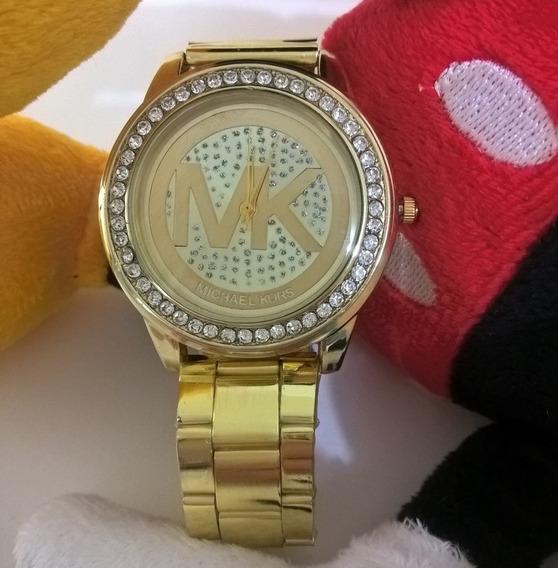 Relógio Feminino Dourado Grande Barato Promoção Black Friday