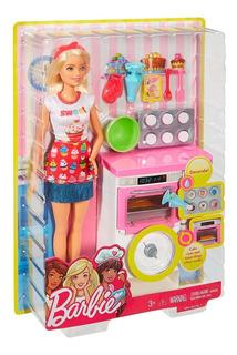 Barbie Cocinera Horno Con Sonido Y Pastelitos Cambian Color