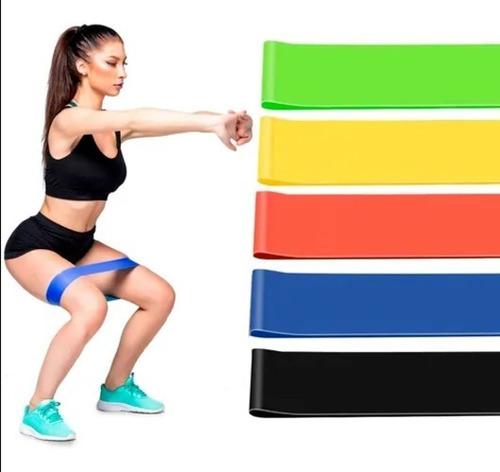 Imagem 1 de 10 de Kit 5 Mini Band Elastico Exercicio Academia Treino Em Casa