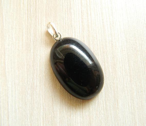 Pingente Pedra Obsidiana Negra Prata 950