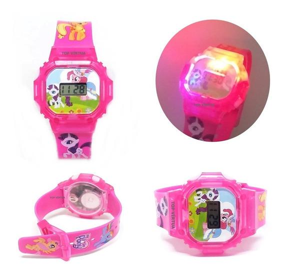 Relógio Unicórnio Infantil Rosa Com Som Luzes Didáticas 3d