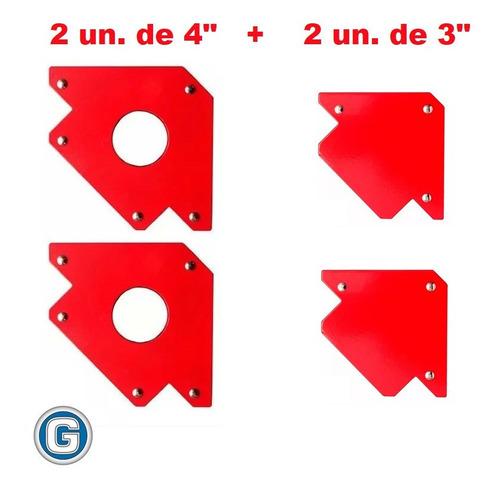 4 Escuadras Soporte Magnético 2u 4p 22kg + 2u 3p 11kg Soldar