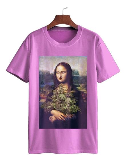 Camiseta Algodão Arte Monalisa Da Vinci Dope Ganja Erva
