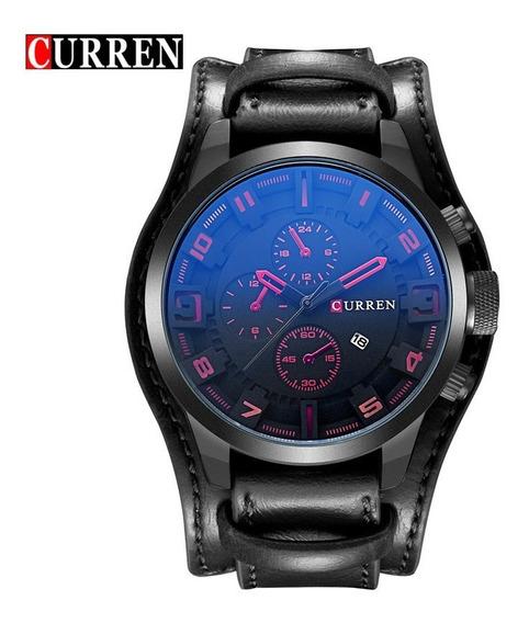 Relógio Masculino Curren Original 8225 Couro Importado Pret