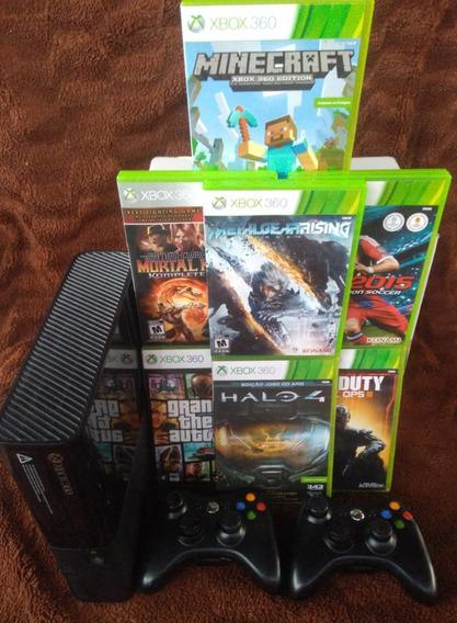 Xbox 360 Super Slim, 2 Controles, 7 Jogos.