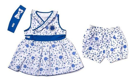 Vestido De Bolinha Revedor Cruzeiro Com Tiara E Short Menina